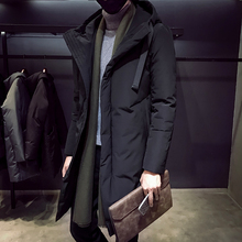 Hat down jacket, middle and long style jacket, handsome young man, slim leisure and warm down jacket, winter down jacket for men