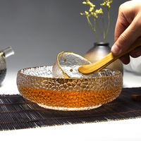Japanese style large size irregular hammer pattern glass tea cup wash water wash bowl kung fu tea set tea ceremony accessories