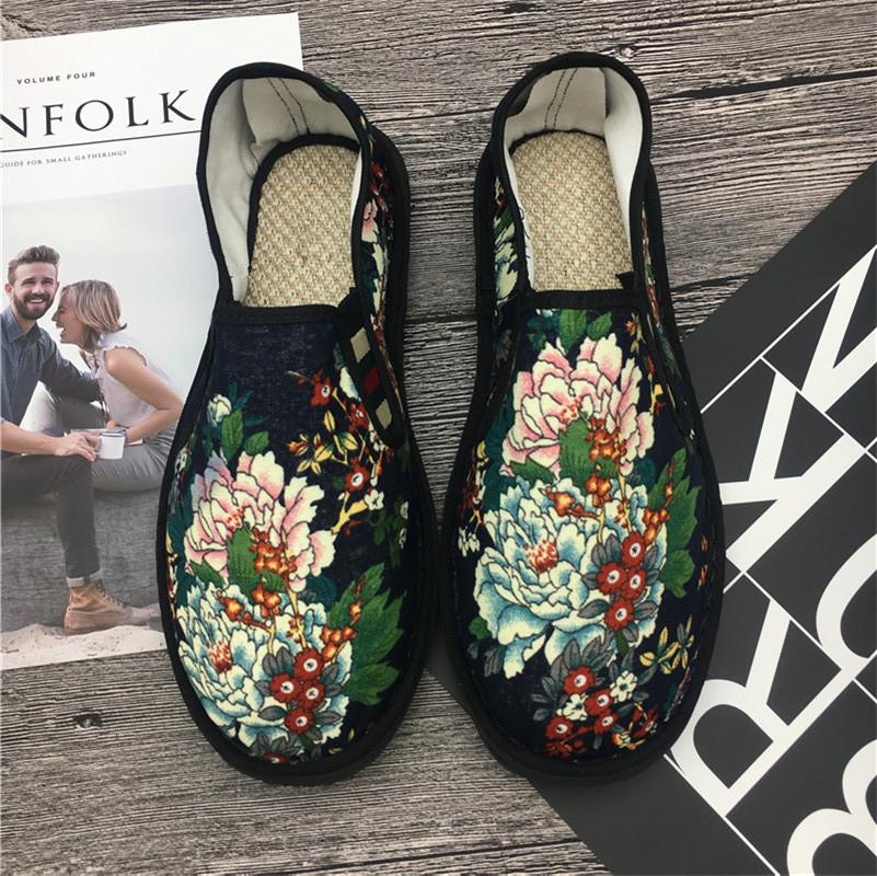 春夏韩版时尚社会花布鞋中国风西山透气布鞋男懒人套脚休闲帆布鞋
