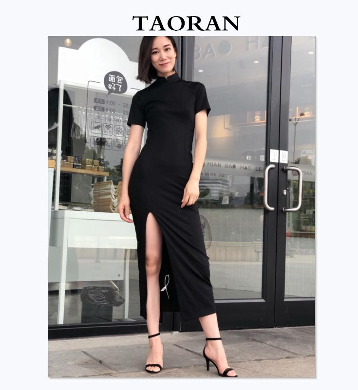 TAORAN自制复古修身显瘦中式长裙日常改良旗袍连衣裙打底裙子女