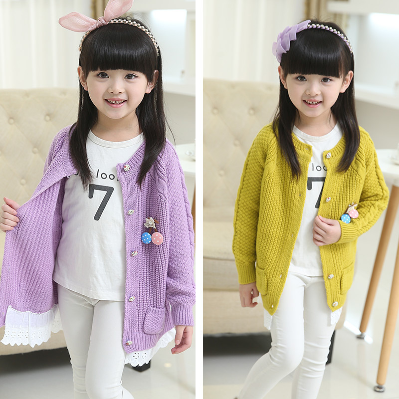 女童薄外套毛衣开衫童装2018新款春款3-5-7岁中小童针织衫儿童