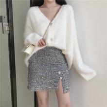 秋冬款 女装 闪闪亮丝高腰半身裙短裙套装 慵懒风V领毛衣外套开衫