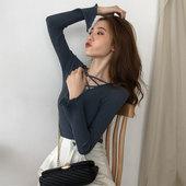 秋冬季新款百搭前后两穿打底衫毛衣女性感交叉V领显瘦性感针织衫