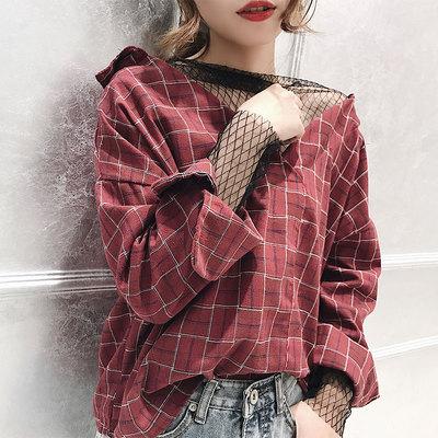 时尚性感网纱拼接宽松显瘦格子衬衫上衣女秋季新款长袖假两件衬衣