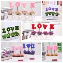 创意客厅桌面仿真绿植物小盆栽桌面隔板摆件客厅LOVE装饰假花盆景