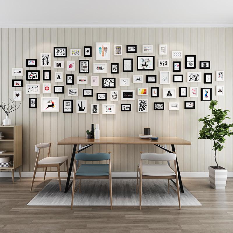 66框大墙面照片墙装饰相框墙创意客厅简约现代挂墙相框组合相片墙5元优惠券