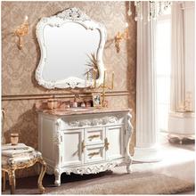 欧式浴室柜组合橡木实木洗脸台盆卫浴柜洗手洗漱大理石面落地镜柜