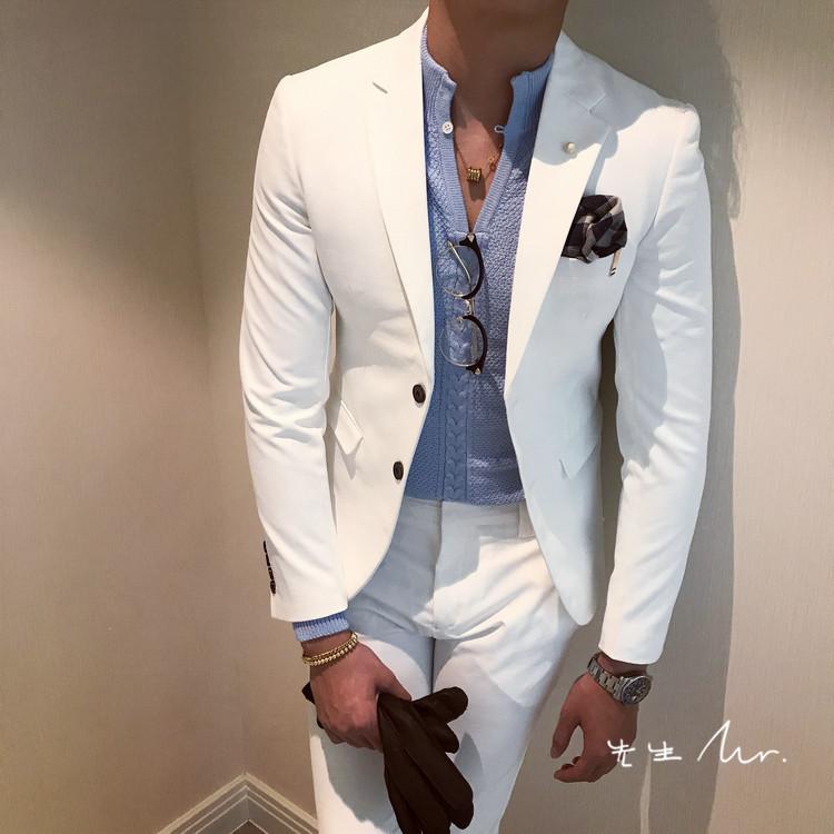 韩国韩版春秋修身西装套装男士商务正装套装青年休闲西装外套百搭