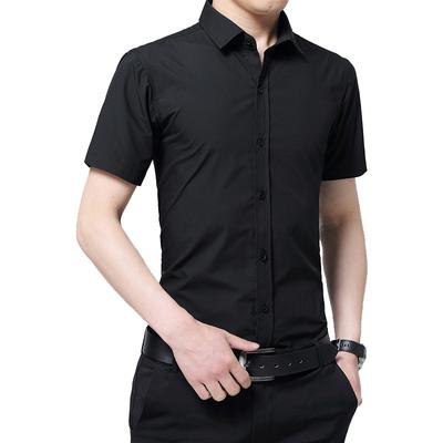 夏装男士纯色短袖衬衫修身韩版商务休闲职业黑色衬衣半袖免烫寸衫