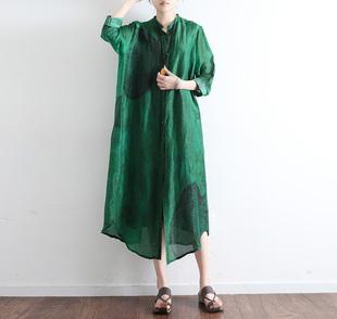 2019春季新款女裝原創設計寬松大碼文藝絲麻開衫薄風衣長袖外披女
