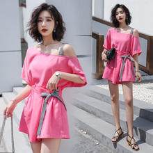 One-character shoulder strap, Shoulder-exposed t-shirt, short sleeve Korean version, loose, thin and pure color Baitao, Summer New Type Two-piece Set, 2019
