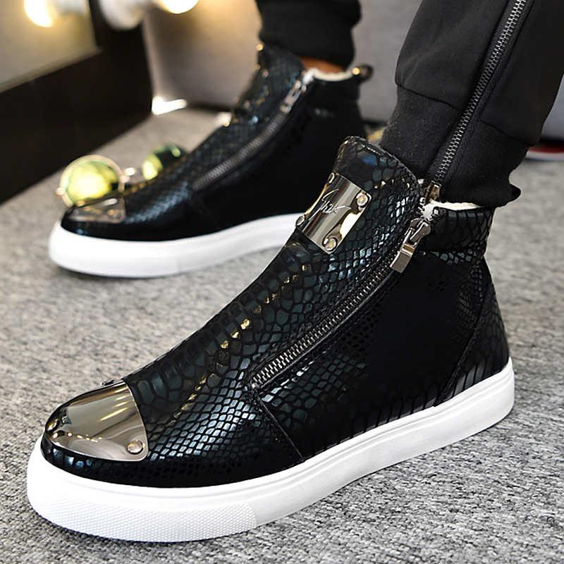 高帮鞋男欧洲站男鞋春季潮鞋增高潮男休闲棉鞋发型师个性板鞋秋季