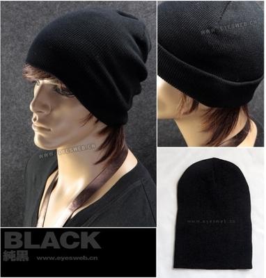 冬季保暖男士帽子 针织毛线帽 嘻哈帽 中年儿童男纯黑色帽子厂家