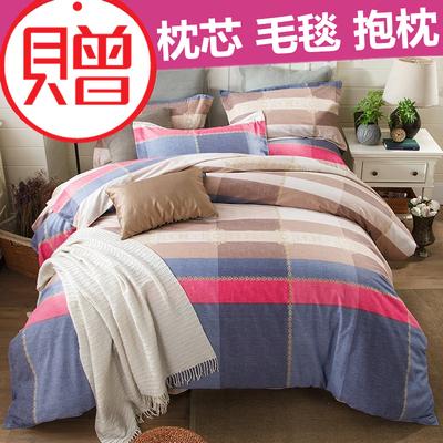全棉磨毛四件套1.5/1.8m米床单床笠100%纯棉秋冬季加厚保暖床品
