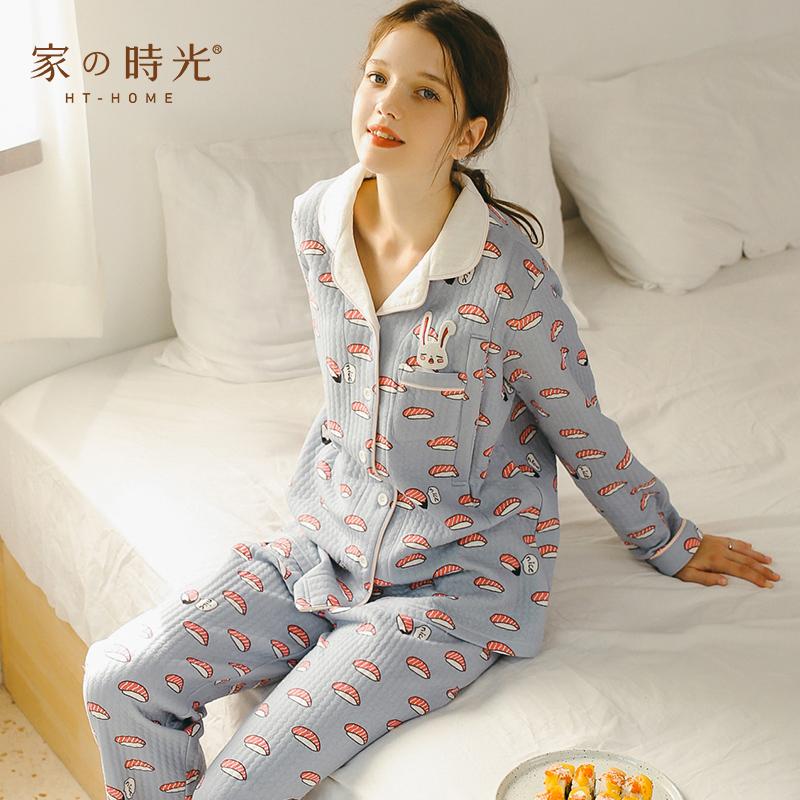 月子服春秋产妇哺乳睡衣家居服套装秋冬季纯棉产后孕妇加厚喂奶衣