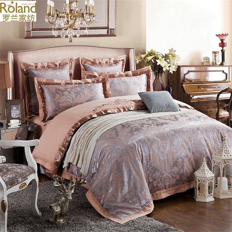 罗兰生活全棉贡缎提花四件套全棉1.8m被套四件套婚庆床上用品纯