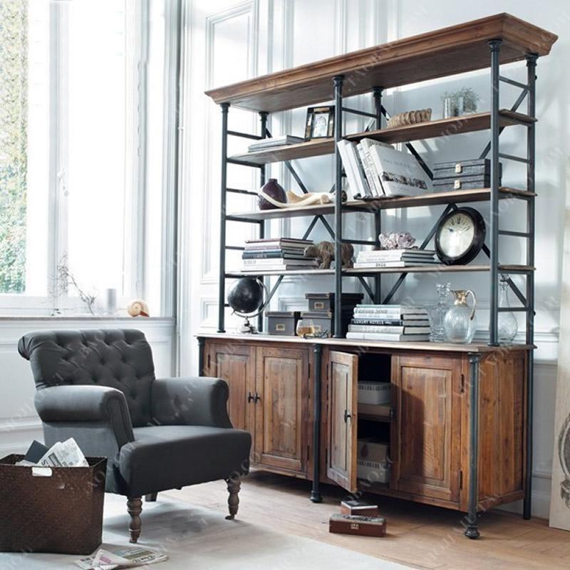 北欧书架实木书柜落地简约现代美式LOFT复古多层收纳架铁艺置物架