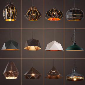 美式复古工业风酒吧吧台loft个性创意造型灯茶室铁艺单头锅盖吊灯