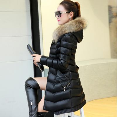 2019冬装新款女PU皮羽绒棉衣中长款外套矮个子韩版小棉袄修身棉服