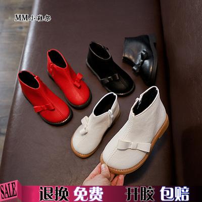2018新款秋季女童靴子短靴黑白红色宝宝小皮靴1-3-5岁半儿童单靴2