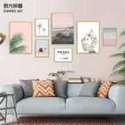 客厅现代简约背景墙壁画组合北欧大尺寸风景装饰画照片墙个性挂画