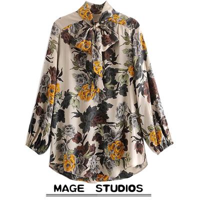 西班牙单出口春秋新款立领系带花朵印花蝴蝶结饰衬衫罩衫打底衫女