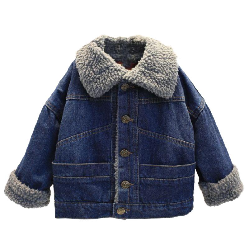 韩版2017冬装新款上衣女童加厚牛仔棉袄外套羊羔绒领儿童保暖棉衣