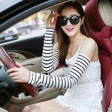 夏季女士防晒袖 子户外开车骑车条纹套袖 套防紫外线手臂套空调假袖