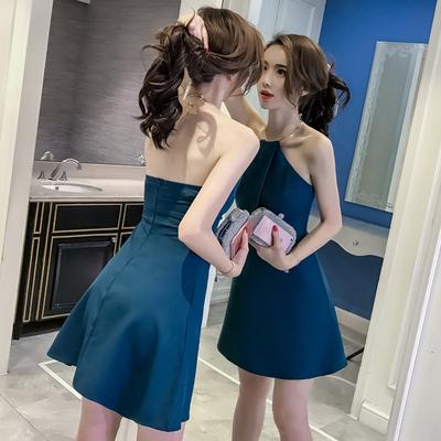 韩国新品女装挂脖露肩礼服性感露背显瘦连衣裙生日聚会年会晚礼服