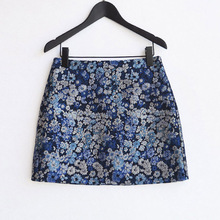 Ice Blue Heart Ms. Spring and Autumn New Slender Flower Type A Short Skirt Anti-Walking Printing Embroidery Type A Half-length Skirt