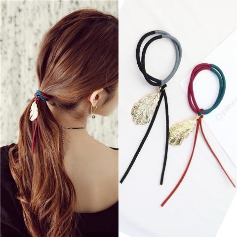 新款韩国金属叶子发圈扎头发头.