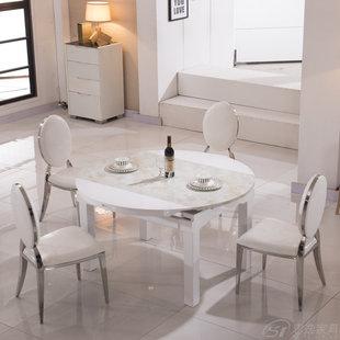 大理石台面餐桌现代时尚圆形实木白色烤漆伸缩创意饭桌子 8001