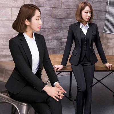 洛臣女士西装外套春秋长袖西装韩版时尚修身职业工装正装大码西服