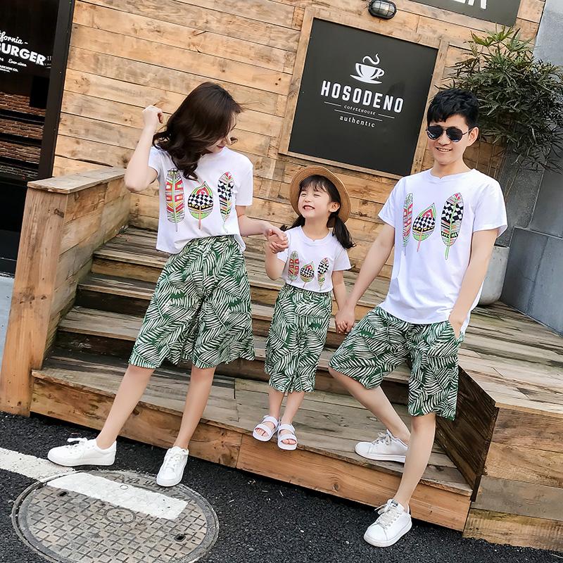 夏装时尚不一样的韩版洋气装一家三口四口