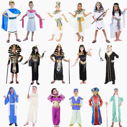 包邮 万圣节COS希腊表演儿童埃及法老王武士艳后祭司王子公主服装