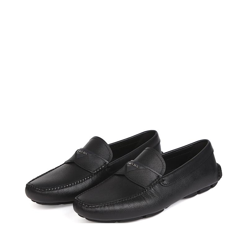 现货意大利Prada/普拉达男士黑色牛皮豆豆鞋男士休闲鞋一脚蹬男鞋