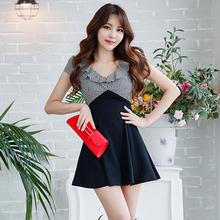 Korean version of the summer sexy female body-building show thin V-collar small temperament short-sleeved Plaid stitching dress skirt