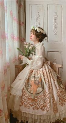 五周年店庆-穆夏帝政开襟JSK-cla优雅古典长款吊带lolita洋装长裙