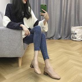 粗跟单鞋女秋玛丽珍方头2018新款韩版奶奶鞋女中跟工作裸色高跟鞋