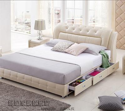 皮床真皮床1.8米双人床小户型储物皮床带抽屉1.2米单人气动软体床