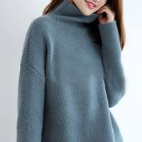 Global purchase of 100% cashmere female long section loose lazy wind