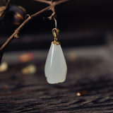 Magnolia. Natural Hetian White Jade Xinjiang Material 18k Yellow Gold Pendant White Magnolia Necklace Pendant with certificate