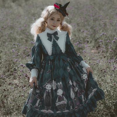 【预售】毒蘑菇原创lolita小裙子 OP暗黑华丽 哥特简约洛丽塔裙子