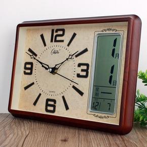 康巴丝静音客厅卧室日历温度座钟表书房办公万年历摆件现代创意表