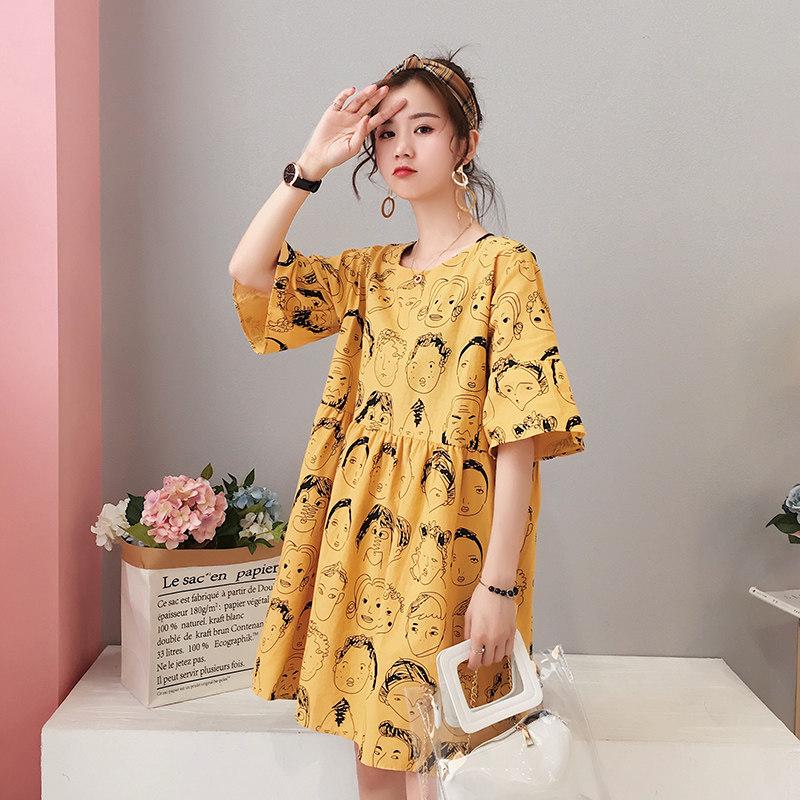 孕妇连衣裙夏装2019新款韩版宽松时尚卡通印花娃娃孕妇装夏天裙子