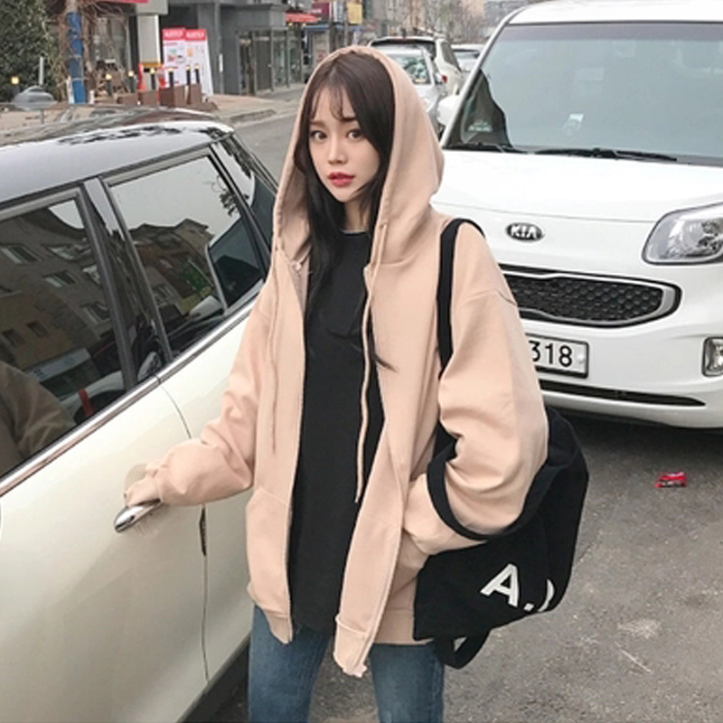 2018秋冬季新款polo连帽卫衣女加绒加厚长袖开衫韩版宽松运动外套