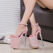 43大码19cm/20公分恨天高夜店女鞋走秀鞋16cm超高跟车模细跟凉鞋