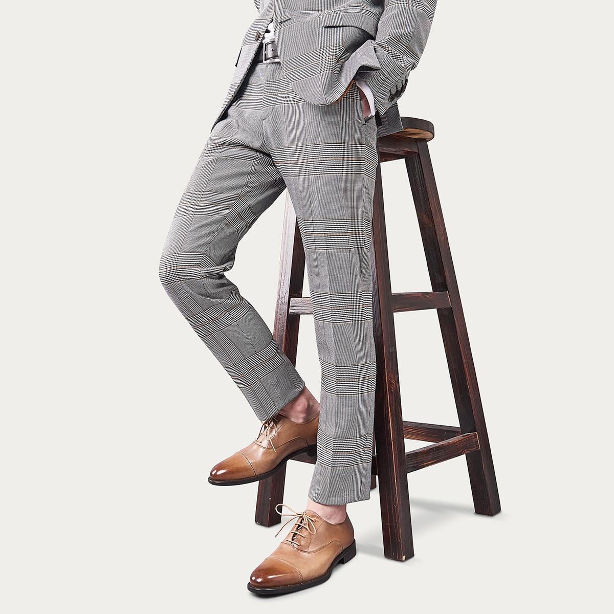 爱得堡三折头商务正装皮鞋西装鞋男英伦德比鞋系带牛津鞋休闲鞋