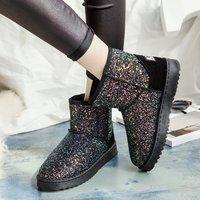 2018冬季新款韩版加绒加厚短筒靴亮片棉鞋平底面包学生女靴雪地靴