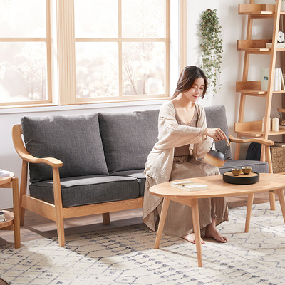 日式实木沙发小户型整装北欧三人位风格布艺现代简约组合客厅家具价格